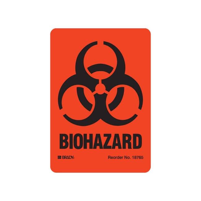 Brady™Laminated Polyester Biohazard Label Width: 100mm Biohazards Safety Signs