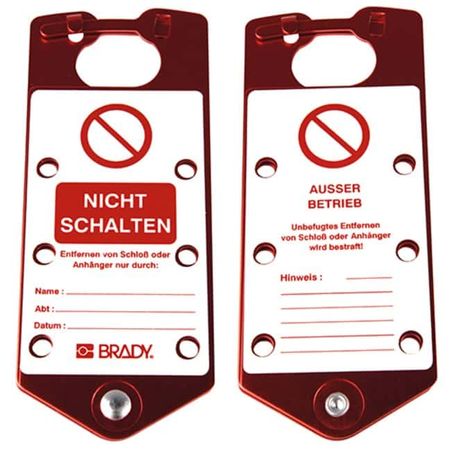Brady™Aluminum Alloy Labeled Safety Lockout Hasps Legend: Do Not Switch Brady™Aluminum Alloy Labeled Safety Lockout Hasps
