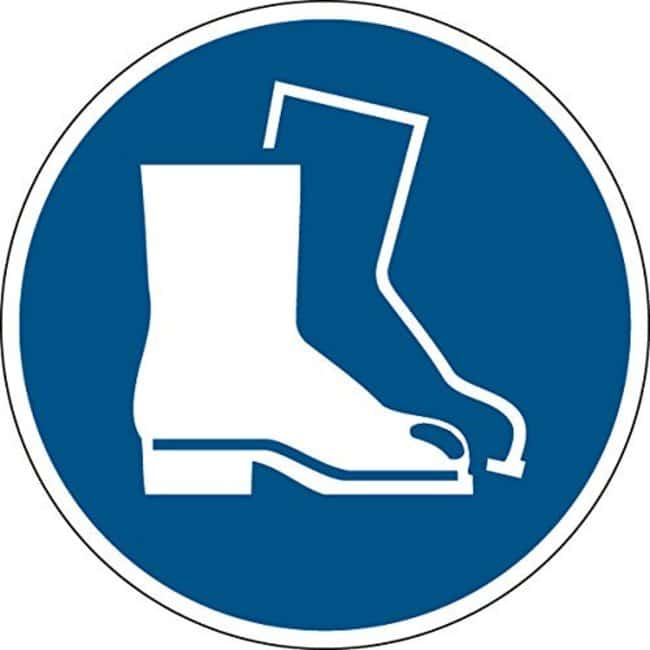 Brady™ Laminated Polyester: ISO Safety Sign - Wear safety footwear 200 mm dia. Brady™ Laminated Polyester: ISO Safety Sign - Wear safety footwear