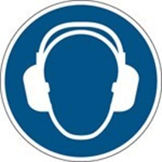 Brady™Polypropylene: ISO Safety Sign - Wear ear protection 100 mm dia. Brady™Polypropylene: ISO Safety Sign - Wear ear protection