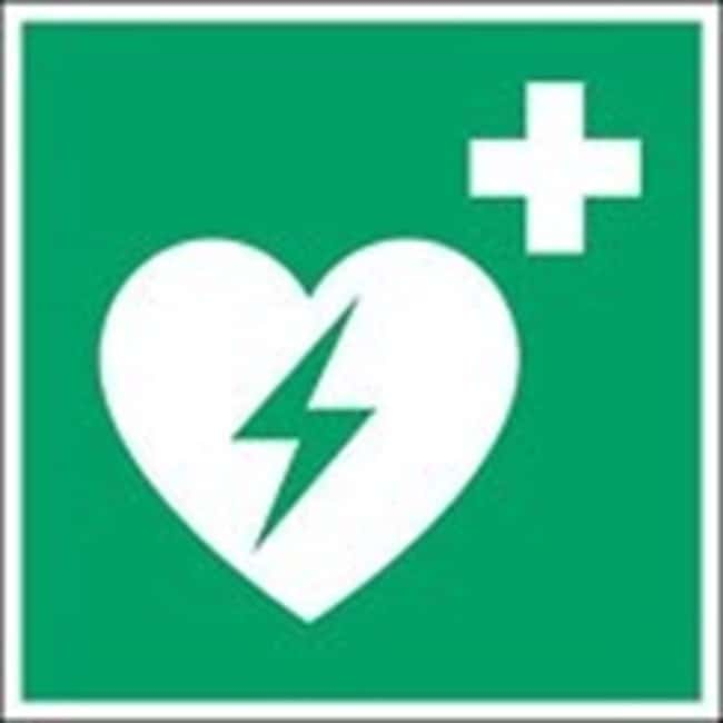 Brady™ Aluminum: ISO Safety Sign - Automated external heart defibrillator W x H: 200 x 200 mm Brady™ Aluminum: ISO Safety Sign - Automated external heart defibrillator