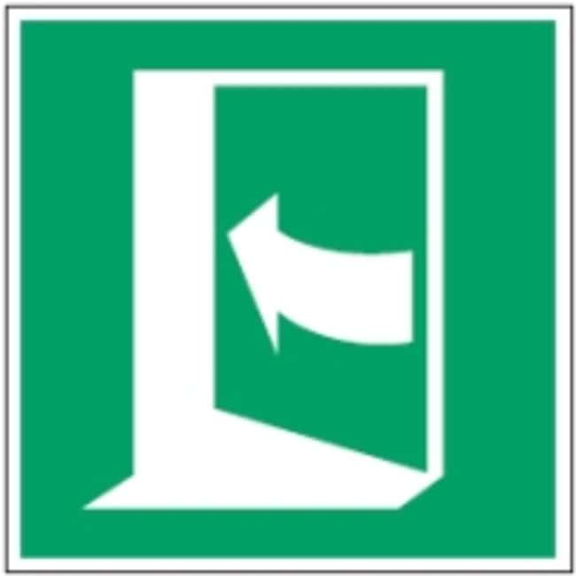 Brady™Polypropylene: ISO Safety Sign - Door opens by pushing on the left-hand side W x H: 100 x 100 mm Brady™Polypropylene: ISO Safety Sign - Door opens by pushing on the left-hand side
