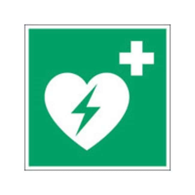 Brady™ Laminated Polyester: ISO Safety Sign - Automated external heart defibrillator W x H: 200 x 200 mm Brady™ Laminated Polyester: ISO Safety Sign - Automated external heart defibrillator