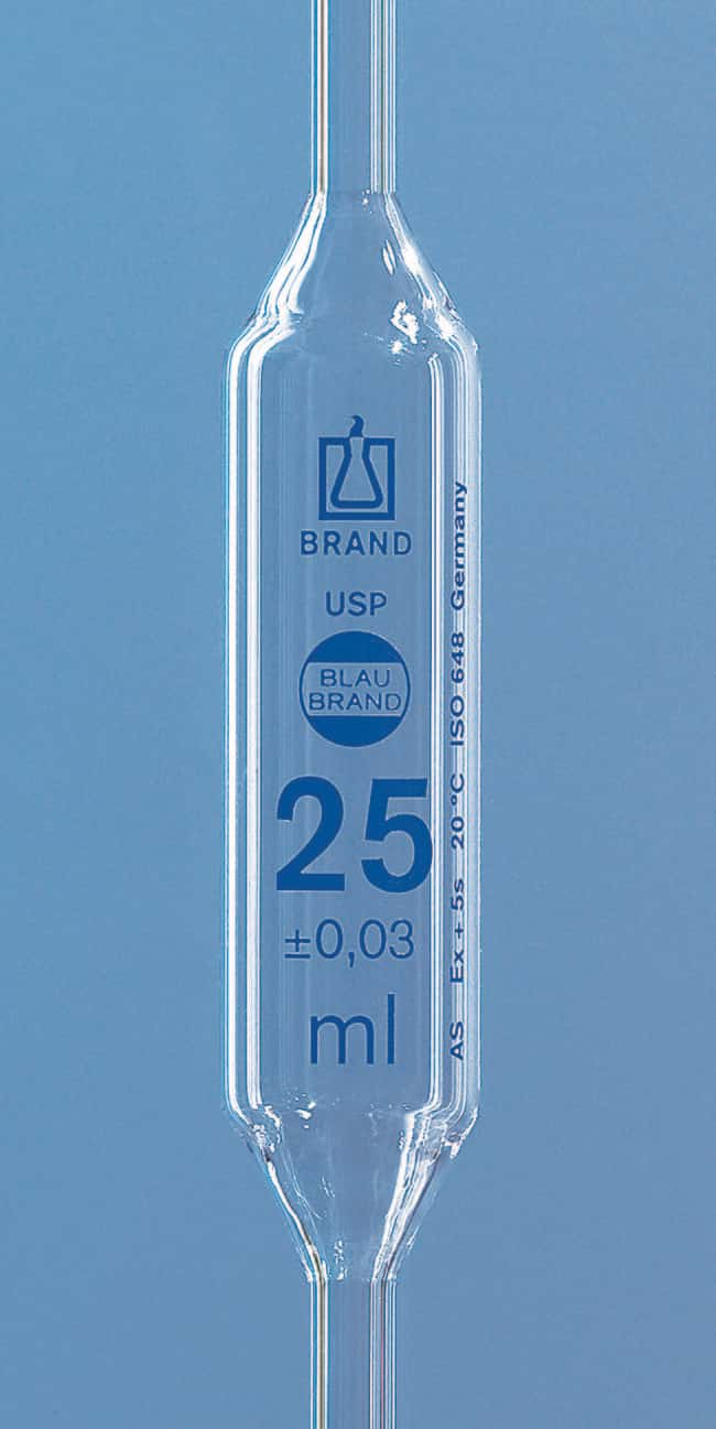 BRAND™ BLAUBRAND™ Class AS AR-Glass Volumetric Bulb Pipet with USP Certificate Capacity: 30mL BRAND™ BLAUBRAND™ Class AS AR-Glass Volumetric Bulb Pipet with USP Certificate