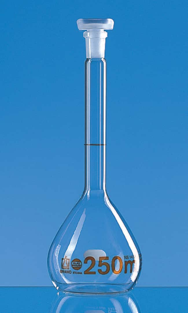 Brand™ Blaubrand™ ETERNA™ Class A Volumetric Flasks Color: Clear; Margin of Error: ±0.06mL; Stopper Number: 12/21 Brand™ Blaubrand™ ETERNA™ Class A Volumetric Flasks