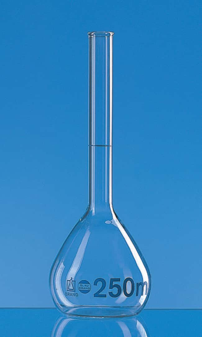 BRAND™ BLAUBRAND™ Class A Volumetric Flask with Flanged Rim Clear; No Stopper; Error limit: ±0.04mL BRAND™ BLAUBRAND™ Class A Volumetric Flask with Flanged Rim