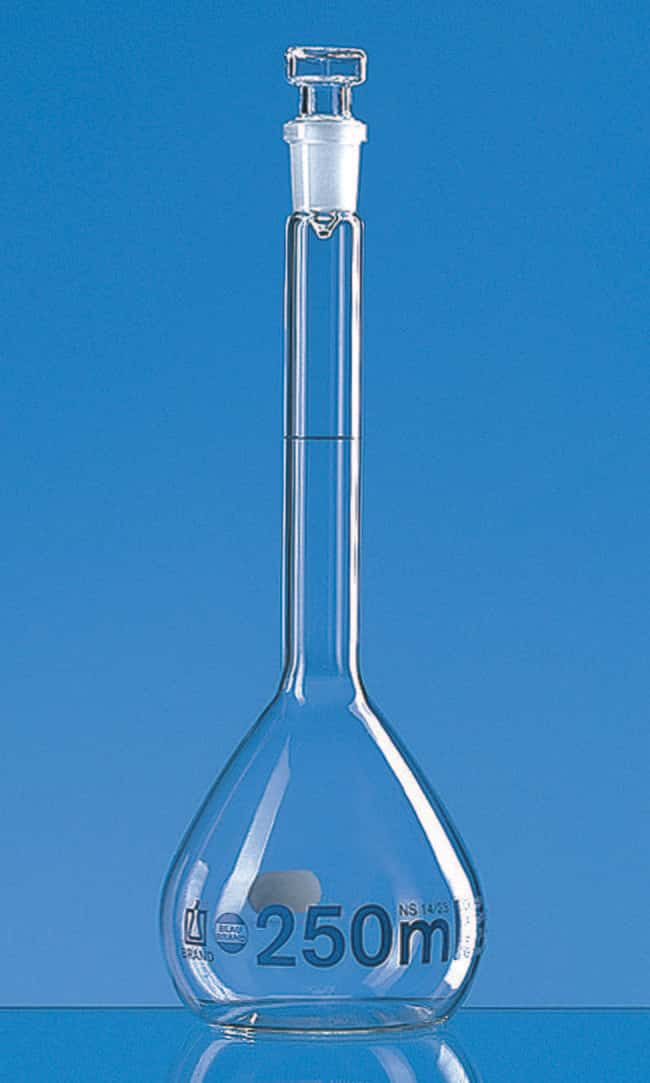 Brand™ Blaubrand™ Class A Borosilicate Glass Volumetric Flasks with Glass Stopper Clear; Glass Stopper; Error limit: ±0.6mL Brand™ Blaubrand™ Class A Borosilicate Glass Volumetric Flasks with Glass Stopper