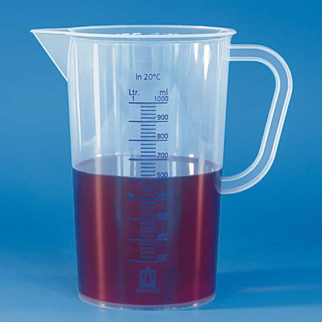 Brand™Graduated Beakers with Handle, Blue Scale Blue Embossed scale; Capacity: 5000mL Brand™Graduated Beakers with Handle, Blue Scale