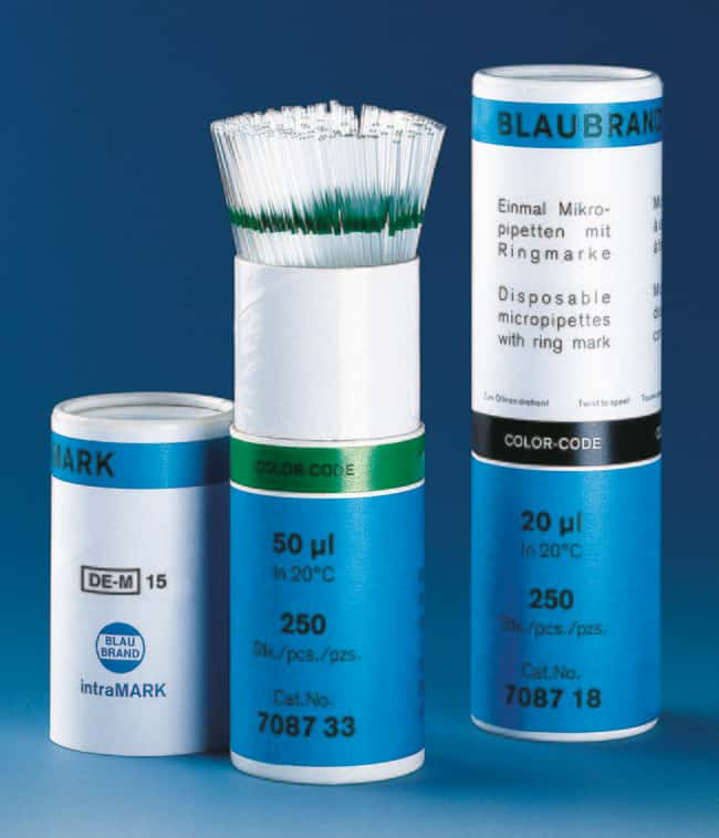 Brand™ Blaubrand™ IntraMARK™ Disposable Micropipets Capacity: 20uL Brand™ Blaubrand™ IntraMARK™ Disposable Micropipets