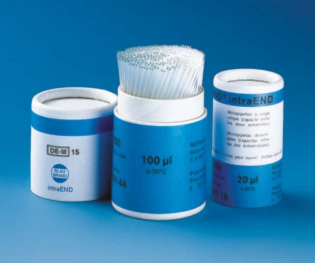 BRAND™ BLAUBRAND™ IntraEND™ Disposable Micropipets Capacity: 20uL BRAND™ BLAUBRAND™ IntraEND™ Disposable Micropipets