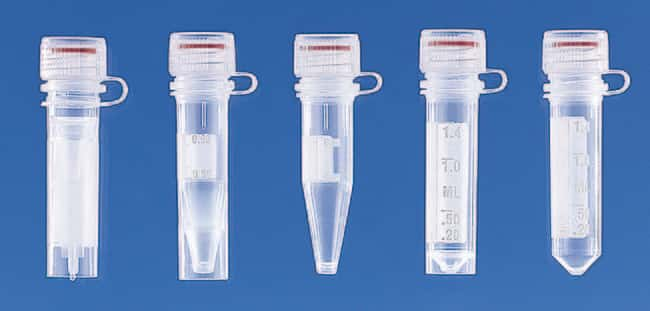 Brand™ Microcentrifuge Tubes with Attached Screw Caps Capacity: 0.5mL; Bottom: Self Stand Brand™ Microcentrifuge Tubes with Attached Screw Caps