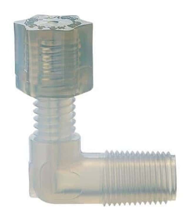 Cole-Parmer™Parker Hannifin™ PFA Compression Threaded Adapter Elbow 1/4 in. tubing OD x 1/4 in. NPT(M) Cole-Parmer™Parker Hannifin™ PFA Compression Threaded Adapter Elbow