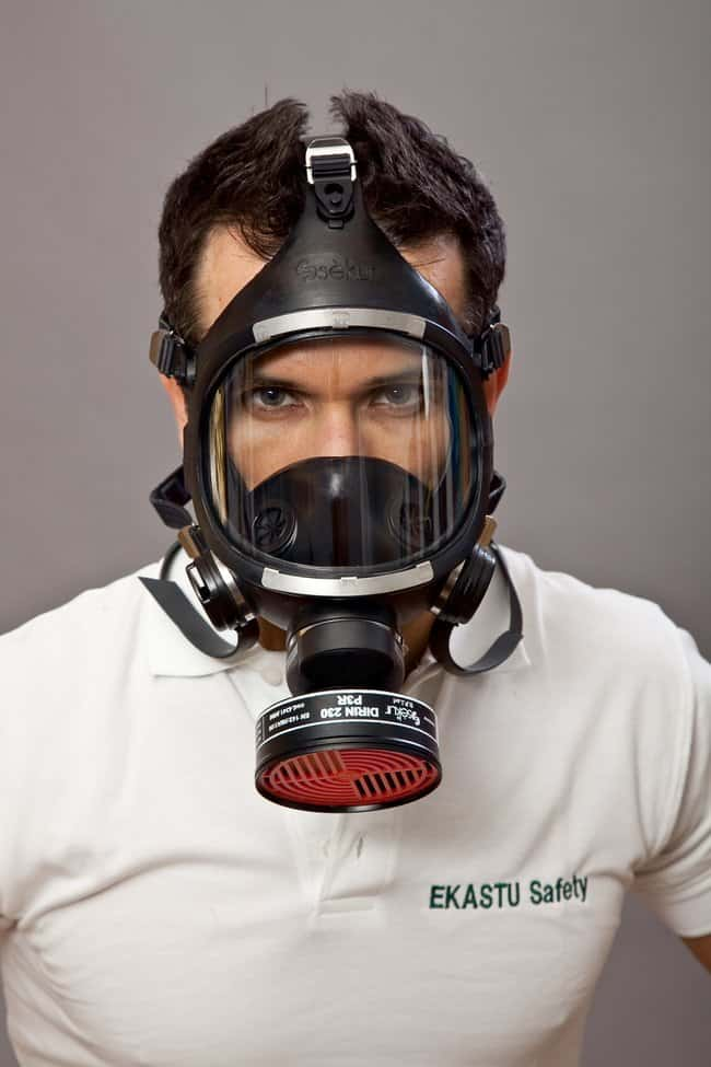 EKASTU SafetyFull Face Mask Color: Black; Faceshield material: EPDM; Type: Class 3, 2 valves EKASTU SafetyFull Face Mask