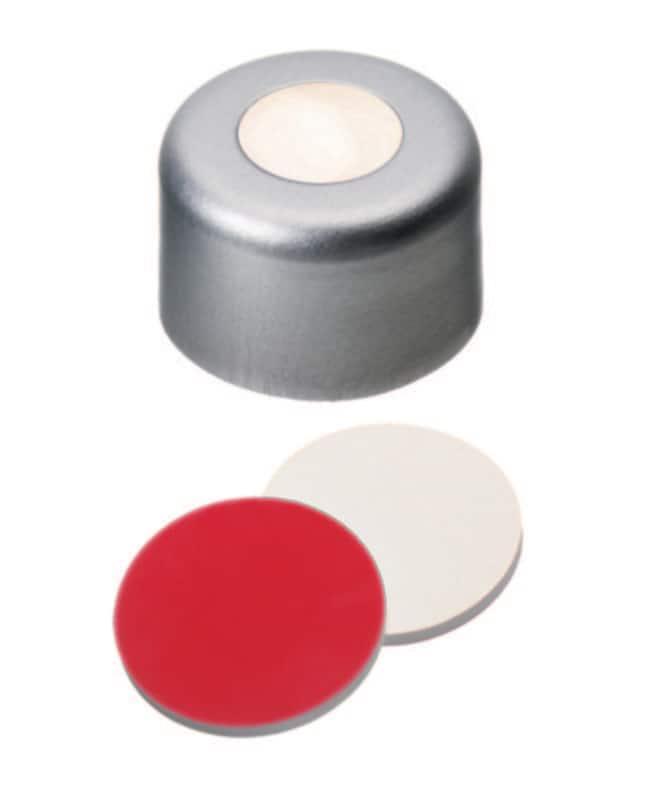 Fisherbrand™8mm Aluminum Crimp Seal, Silver, Center hole, Assembled septum Silicona/PTFE crema/rojo, 1,5mm de grosor, 55° shore A Fisherbrand™8mm Aluminum Crimp Seal, Silver, Center hole, Assembled septum