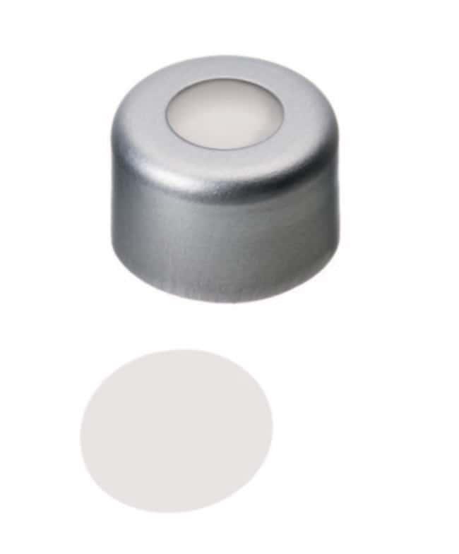 Fisherbrand™8mm Aluminium-Bördelverschluss, silberfarben, Mittelloch, zusammengesetztes Septum PTFE Virginal ,0.25mm Dicke ,53° Shore D Fisherbrand™8mm Aluminium-Bördelverschluss, silberfarben, Mittelloch, zusammengesetztes Septum