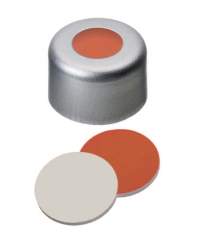 Fisherbrand™8mm Aluminum Crimp Seal, Silver, Center hole, Assembled septum Silicone/PTFE red/beige ,1.0mm thickness,45° shore A Fisherbrand™8mm Aluminum Crimp Seal, Silver, Center hole, Assembled septum