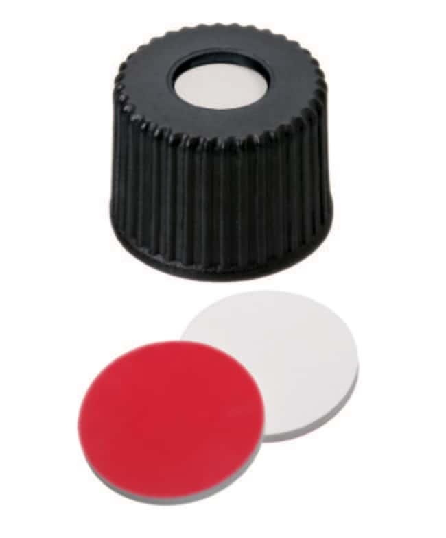 Fisherbrand™8mm PP Screw Seal, Black, Center hole, 8-425 thread, Assembled septum Silicone/PTFE white/red,1.3mm thickness,45° shore A Fisherbrand™8mm PP Screw Seal, Black, Center hole, 8-425 thread, Assembled septum