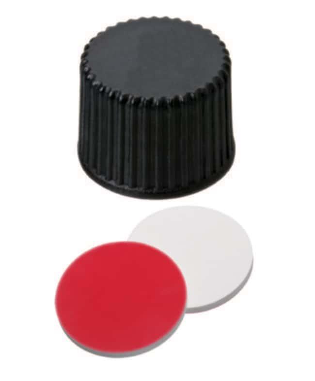 Fisherbrand™8mm Schraubdichtung aus PP, weiß, oben geschlossen, 8-425 Gewinde, angebrachtes Septum Silikon/PTFE weiß/rot, geschlitzt ,1.3mm Dicke ,45° Shore A Fisherbrand™8mm Schraubdichtung aus PP, weiß, oben geschlossen, 8-425 Gewinde, angebrachtes Septum