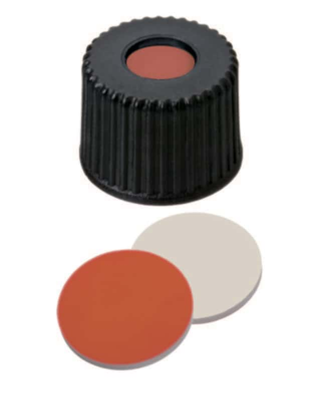 Fisherbrand™Tapón de rosca de PP de 8mm, negro, con orificio central, rosca 8-425 con septum Caucho rojo/PTFE rojo-naranja/beige, 1,0mm de grosor,45° shore A Fisherbrand™Tapón de rosca de PP de 8mm, negro, con orificio central, rosca 8-425 con septum