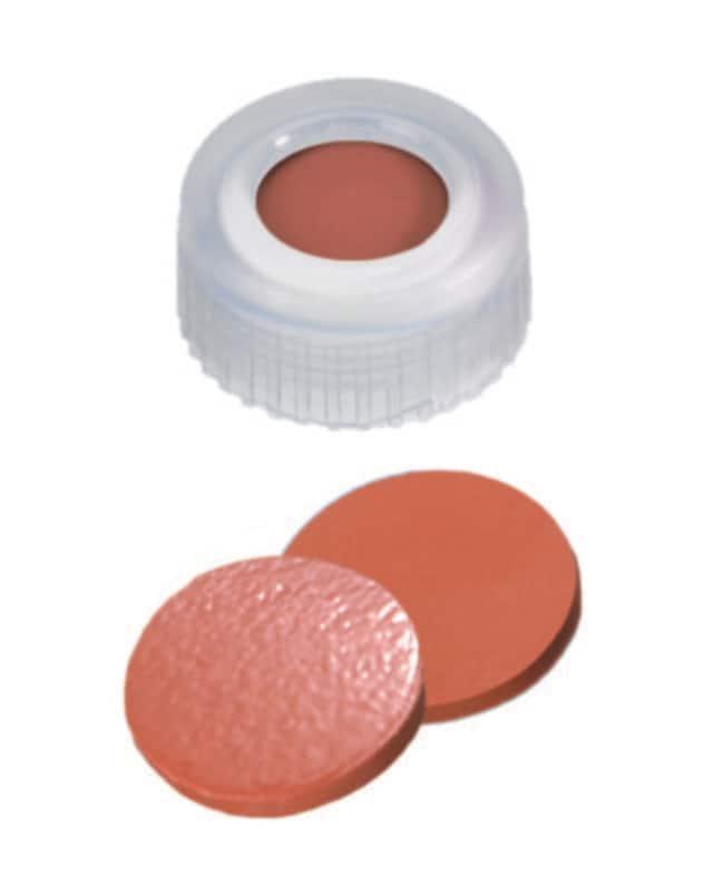 Fisherbrand™9mm PP Short Thread Seal, Transparent, Center hole, Assembled septum Nat.Rubber/TEF red-orange/transp.,1.0mm thickness,60° shore A Fisherbrand™9mm PP Short Thread Seal, Transparent, Center hole, Assembled septum