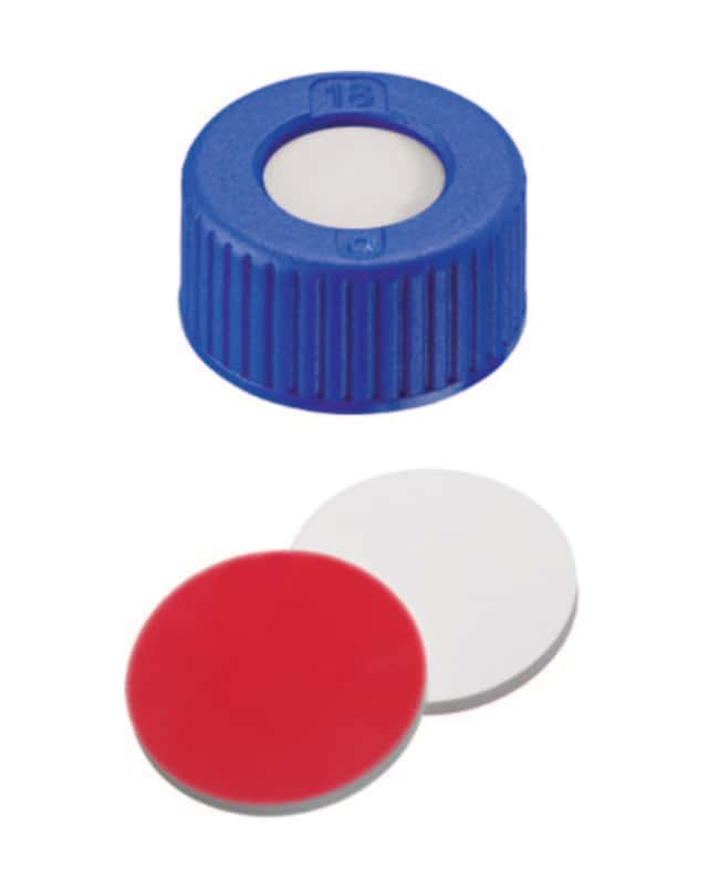 Fisherbrand™ 9mm PP Short Thread Seal, Blue, Center Hole, Assembled Septum Silicone/PTFE white/red,1.0mm thickness,45° shore A Fisherbrand™ 9mm PP Short Thread Seal, Blue, Center Hole, Assembled Septum