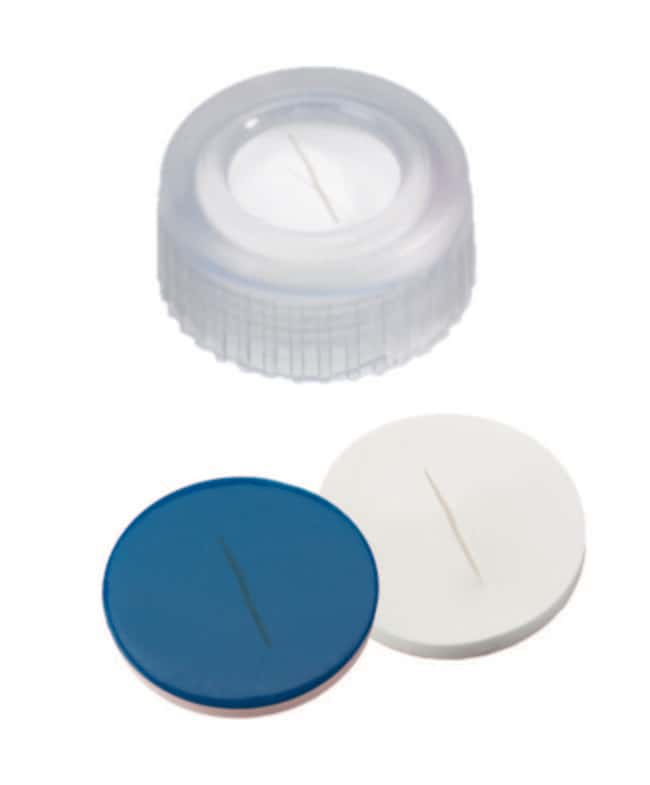 Fisherbrand™9mm PP Short Thread Seal, Transparent, Center hole, Assembled septum Silicone/PTFE  white/blue,slit,1.0mm thickness,55° shore A Fisherbrand™9mm PP Short Thread Seal, Transparent, Center hole, Assembled septum