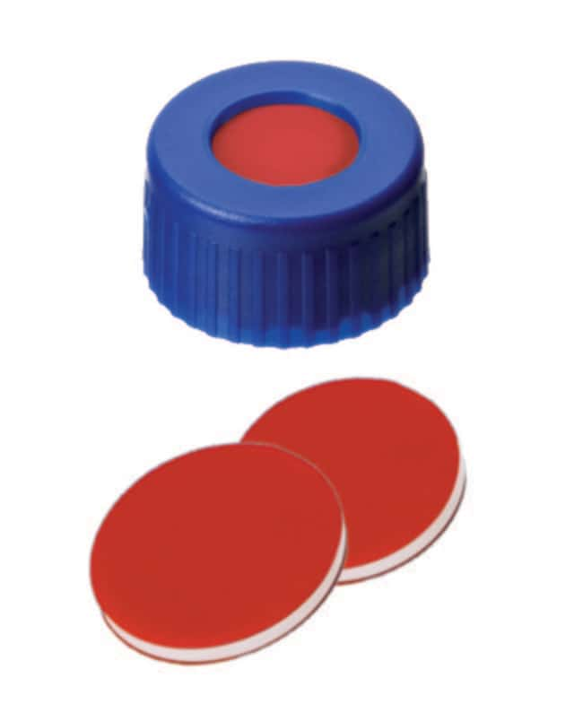 Fisherbrand™ 9mm PP Short Thread Seal, Blue, Center Hole, Assembled Septum PTFE/Silicone/PTFE red/white/red,1.0mm thickness,45° shore A Fisherbrand™ 9mm PP Short Thread Seal, Blue, Center Hole, Assembled Septum