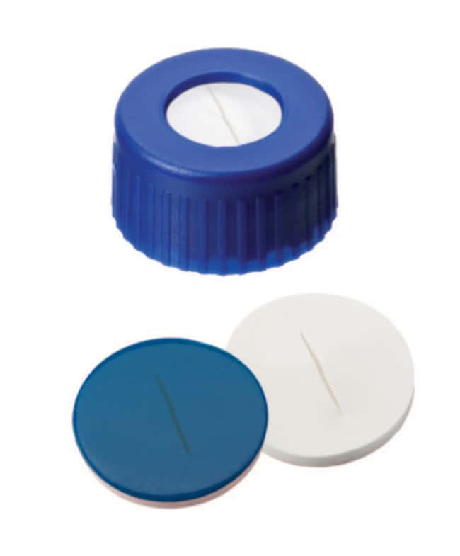Fisherbrand™9mm PP Short Thread Seal, Blue, Center Hole, Assembled Septum PTFE/Silicone white/blue,slit,1.0mm thickness,55° shore A Fisherbrand™9mm PP Short Thread Seal, Blue, Center Hole, Assembled Septum