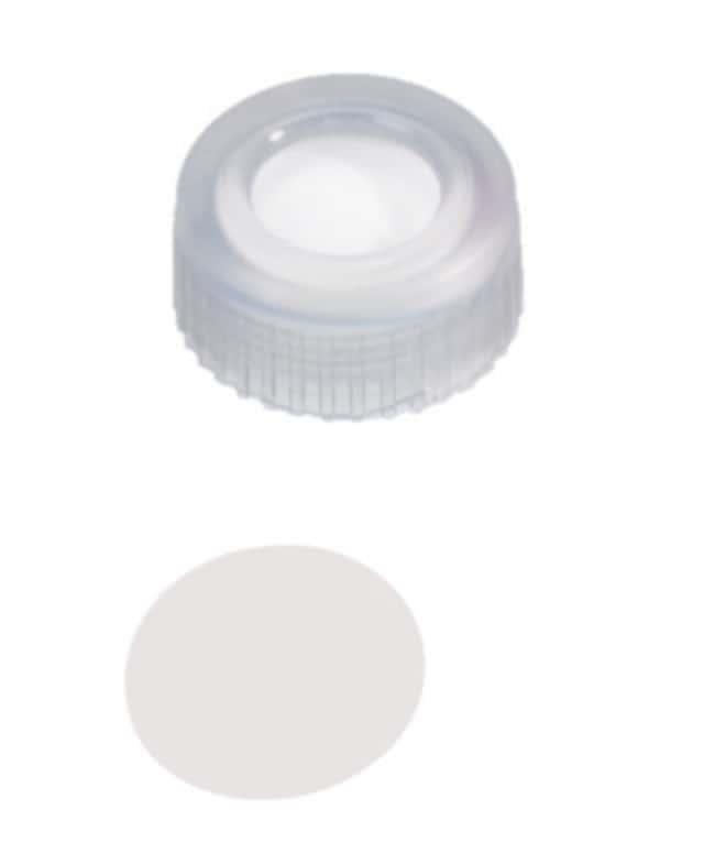 Fisherbrand™9mm PP Short Thread Seal, Transparent, Center hole, Assembled septum PTFE virginal,0.2mm thickness,53° shore D Fisherbrand™9mm PP Short Thread Seal, Transparent, Center hole, Assembled septum