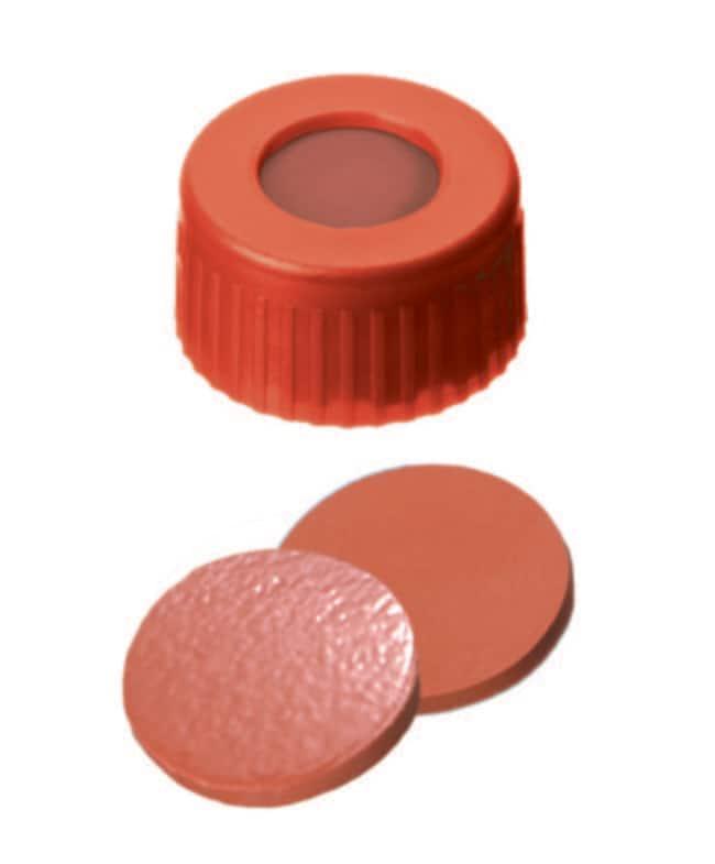 Fisherbrand™9mm PP Short Thread Seal, Red, Center hole, Assembled septum Nat.Rubber/TEF red-orange/transp.,1.0mm thickness,60° shore A Fisherbrand™9mm PP Short Thread Seal, Red, Center hole, Assembled septum