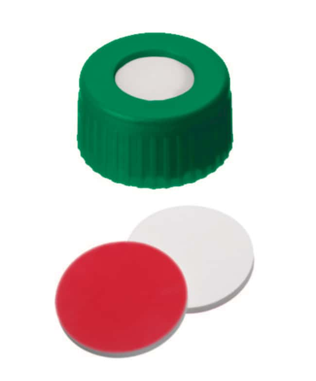 Fisherbrand™9mm PP Short Thread Seal, Green, Center hole, Assembled septum Silicona/PTFE blanco/rojo, 1,0mm de grosor, 45° shore A Fisherbrand™9mm PP Short Thread Seal, Green, Center hole, Assembled septum