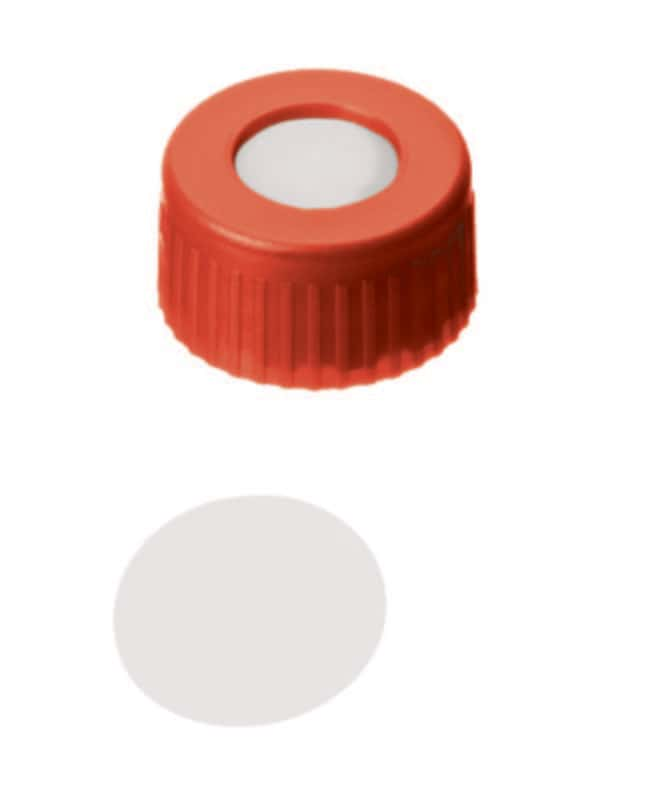 Fisherbrand™9mm PP Short Thread Seal, Red, Center hole, Assembled septum PTFE virgen, 0,2mm de grosor, 53° shore D Fisherbrand™9mm PP Short Thread Seal, Red, Center hole, Assembled septum