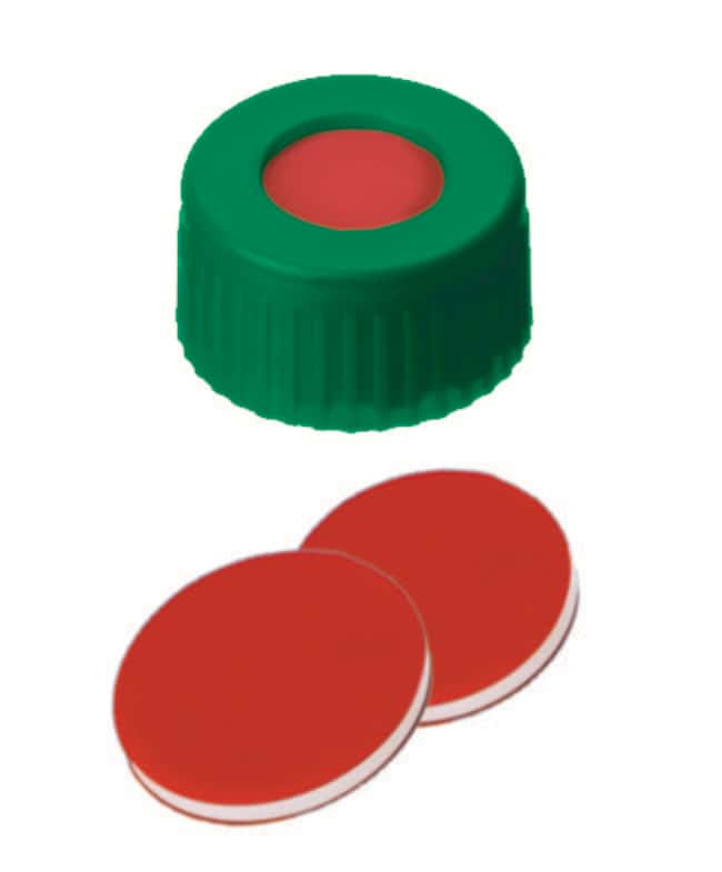 Fisherbrand™ Joint à filetage court en PP de 9 mm, vert, trou central, septum assemblé PTFE / silicone / PTFE rouge / blanc / rouge ,1.0mm d'épaisseur ,45 Shore A Fisherbrand™ Joint à filetage court en PP de 9 mm, vert, trou central, septum assemblé