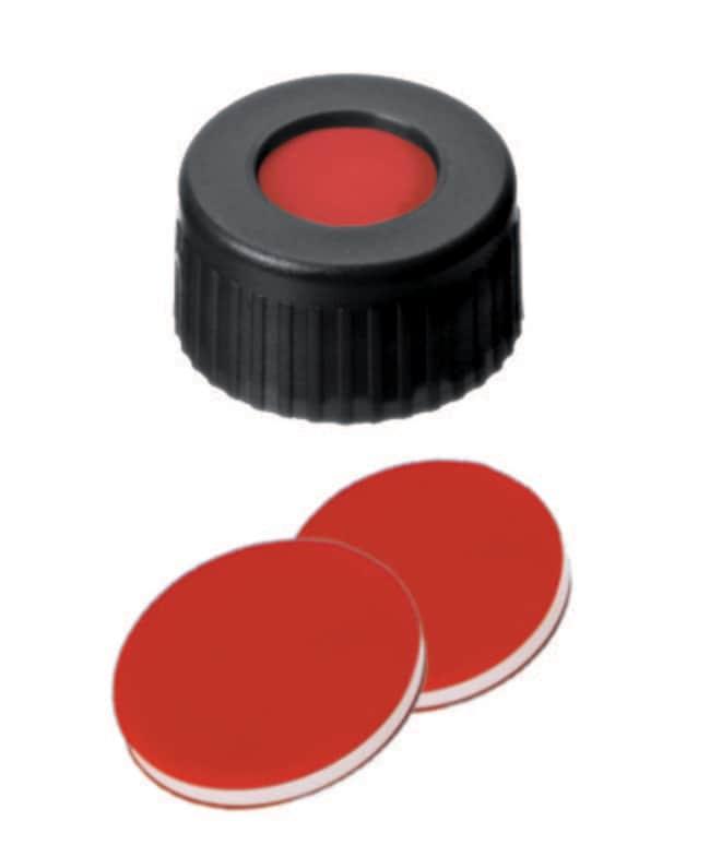Fisherbrand™9mm PP-Kurzgewindedichtung, schwarz, Mittelloch, angebrachtes Septum PTFE/Silikon/PTFE rot/weiß/rot ,1.0mm Dicke ,45° Shore A Fisherbrand™9mm PP-Kurzgewindedichtung, schwarz, Mittelloch, angebrachtes Septum