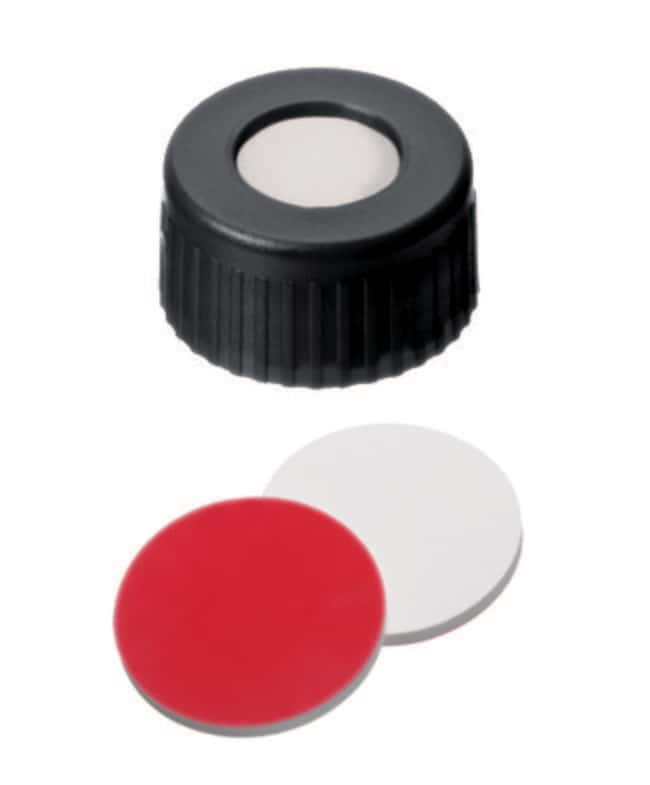 Fisherbrand™ 9mm PP Short Thread Seal, Black, Center hole, Assembled septum Silicone/PTFE white/red,1.0mm thickness,45° shore A Fisherbrand™ 9mm PP Short Thread Seal, Black, Center hole, Assembled septum