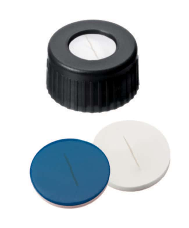 Fisherbrand™ 9mm PP Short Thread Seal, Black, Center hole, Assembled septum Silicone/PTFE white/blue,slit,1.0mm thickness,55° shore A Fisherbrand™ 9mm PP Short Thread Seal, Black, Center hole, Assembled septum
