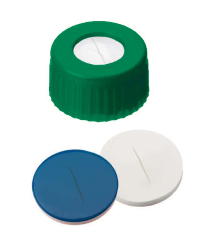Fisherbrand™ 9mm PP Short Thread Seal, Green, Center hole, Assembled septum Silicone/PTFE  white/blue,slit,1.0mm thickness,55° shore A Fisherbrand™ 9mm PP Short Thread Seal, Green, Center hole, Assembled septum