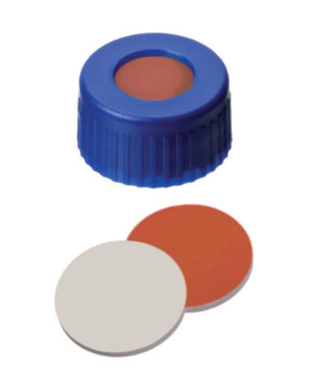 Fisherbrand™ 9mm PP Short Thread Seal, Blue, Center Hole, Assembled Septum RedRubber/PTFE red-orange/beige,1.0mm thickness,45° shore A Fisherbrand™ 9mm PP Short Thread Seal, Blue, Center Hole, Assembled Septum