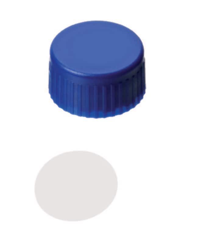 Fisherbrand™9mm PP Short Thread Seal, Blue, Closed top, Assembled septum PTFE virginal,0.2mm thickness,53° shore D Fisherbrand™9mm PP Short Thread Seal, Blue, Closed top, Assembled septum