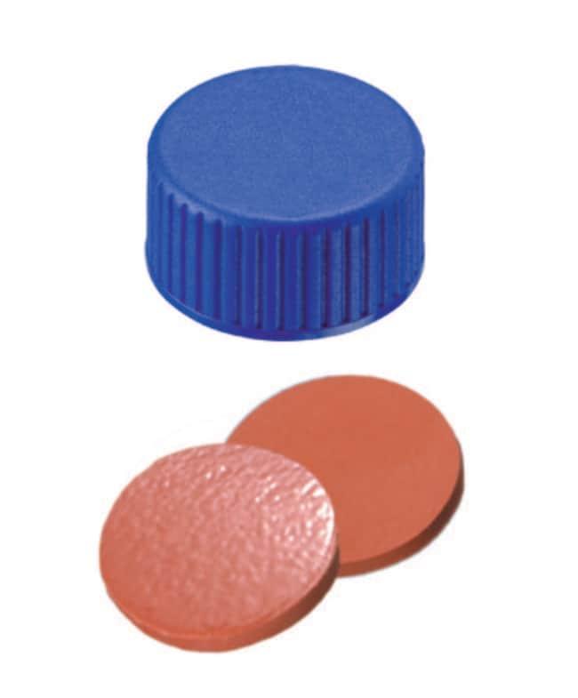 Fisherbrand™9mm PP Short Thread Seal, Blue, Closed top, Assembled septum Nat.Rubber/TEF red-orange/beige,1.0mm thickness,60° shore A Fisherbrand™9mm PP Short Thread Seal, Blue, Closed top, Assembled septum