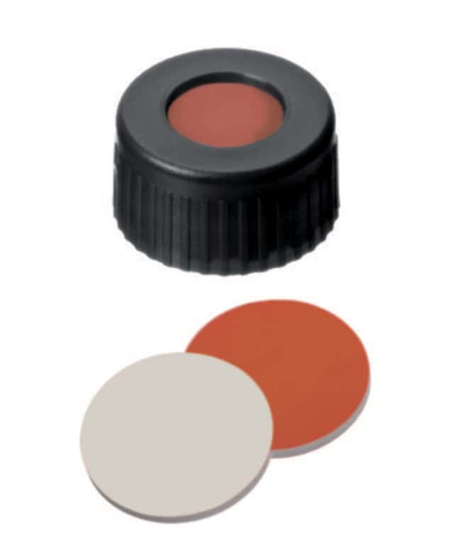 Fisherbrand™ 9mm PP Short Thread Seal, Black, Center hole, Assembled septum RedRubber/PTFE red-orange/beige,1.0mm thickness,45° shore A Fisherbrand™ 9mm PP Short Thread Seal, Black, Center hole, Assembled septum