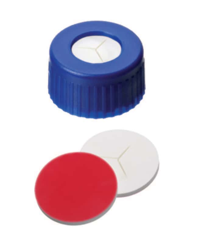 Fisherbrand™ 9mm PP Short Thread Seal, Blue, Center Hole, Assembled Septum Silicone/PTFE white/red,pre-cut (Y),1.0mm thickness, 55° shore A Fisherbrand™ 9mm PP Short Thread Seal, Blue, Center Hole, Assembled Septum