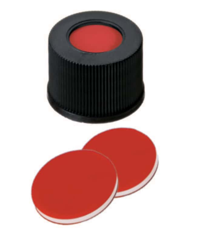 Fisherbrand™10mm PP Screw Seal, Black, Center hole, 10-425 thread, Assembled septum Silicone/PTFE red/white/red,1.0mm thickness,45° shore A Fisherbrand™10mm PP Screw Seal, Black, Center hole, 10-425 thread, Assembled septum