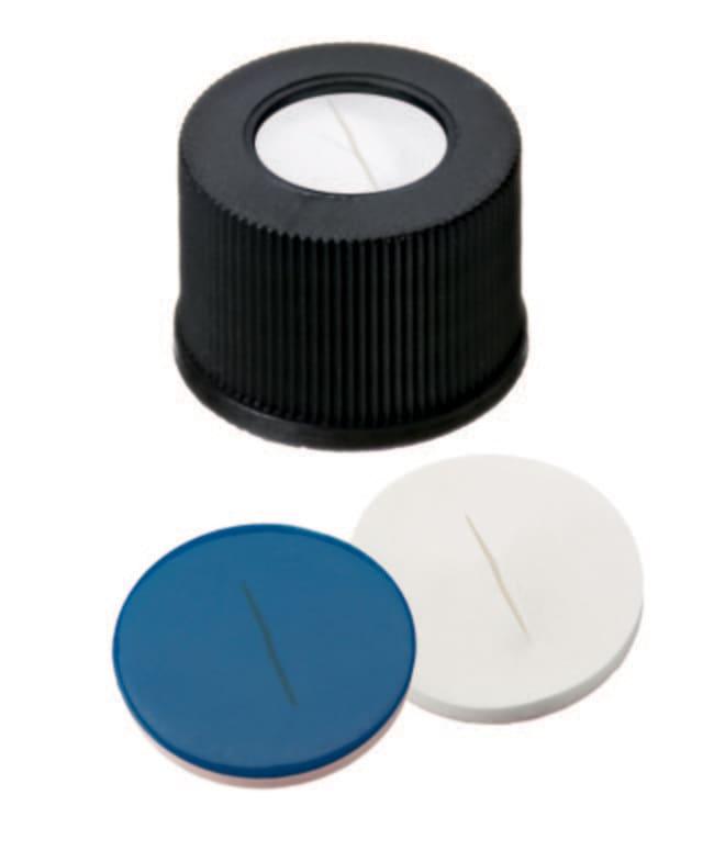 Fisherbrand™Septum assemblé avec bouchon à vis 10mm en PP à trou central, noir, à filetage 10-425 Silicone/ PTFE blanc/ bleu, fente ,1.5mm d'épaisseur, ,55 ° Shore A Fisherbrand™Septum assemblé avec bouchon à vis 10mm en PP à trou central, noir, à filetage 10-425