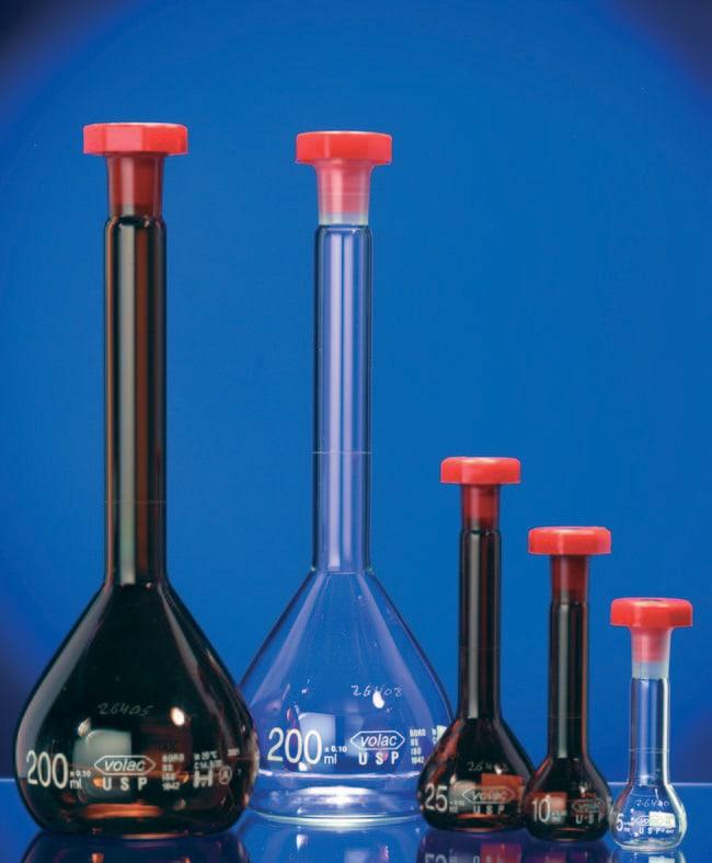Fisherbrand™Matraz aforado de vidrio borosilicatado de clase A Capacidad: 500ml; diámetro: 95mm; altura: 260mm; tolerancia: ±0,25 Fisherbrand™Matraz aforado de vidrio borosilicatado de clase A