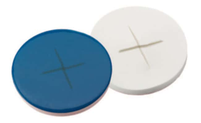 Fisherbrand™Septum for 11mm Crimp Cap Silicone/PTFE  white/blue,cross-slit,1.5 mm thickness,55° shore A Fisherbrand™Septum for 11mm Crimp Cap