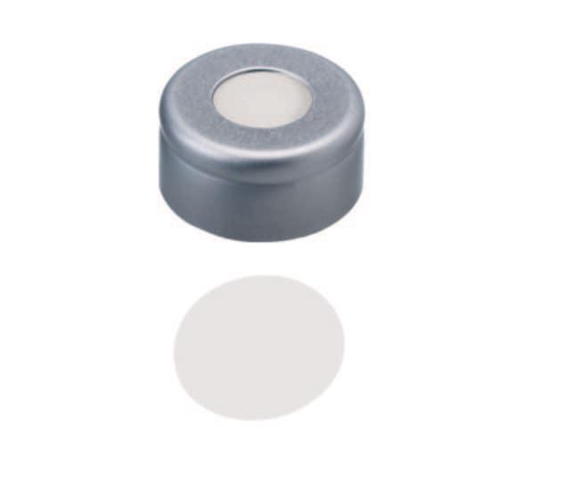Fisherbrand™11mm Aluminum Crimp Seal, Silver, Center Hole, Assembled Septum PTFE virginal,white,0.25mm thickness,53° shore D Fisherbrand™11mm Aluminum Crimp Seal, Silver, Center Hole, Assembled Septum