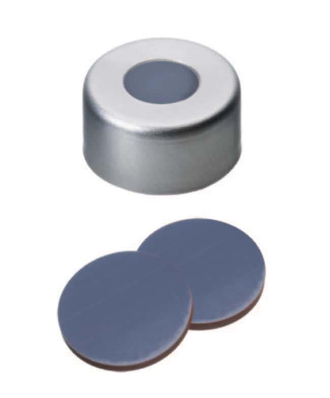Fisherbrand™11mm Aluminum Crimp Seal, Silver, Center hole, Assembled septum PTFE/Butyl/PTFE grey/red/grey ,1.3mm thickness,55° shore A Fisherbrand™11mm Aluminum Crimp Seal, Silver, Center hole, Assembled septum