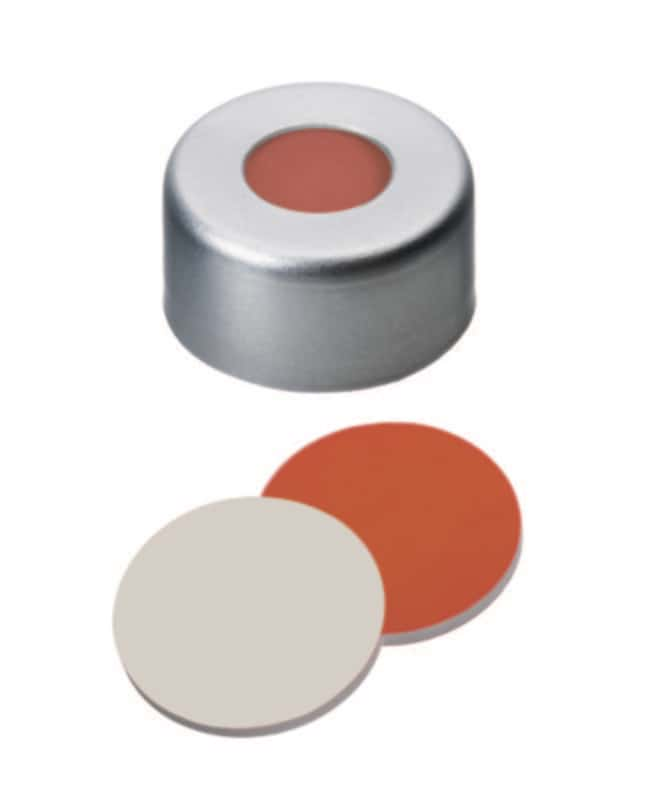 Fisherbrand™ 11mm Aluminum Crimp Seal, Silver, Center Hole, Assembled Septum RedRubber/PTFE red-orange/beige,cross-slitted,1.0mm thickness,45° shore A Fisherbrand™ 11mm Aluminum Crimp Seal, Silver, Center Hole, Assembled Septum