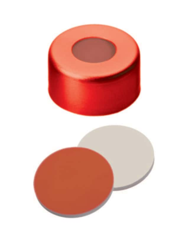 Fisherbrand™ 11mm Aluminum Crimp Seal, Red, Center hole, Assembled septum RedRubber/PTFE red-orange/beige,1.0mm thickness,45° shore A Fisherbrand™ 11mm Aluminum Crimp Seal, Red, Center hole, Assembled septum